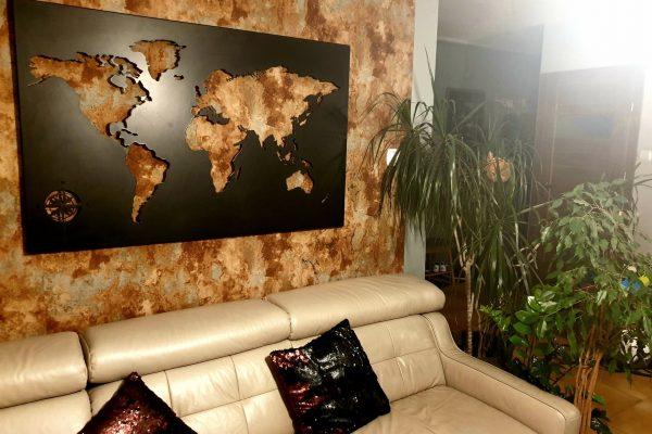 Fabryka Pomysłów-Mapa Świata-czarna-stal-ozdoba